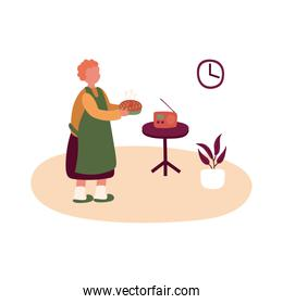 eldery woman cooking pie in home activity free form style
