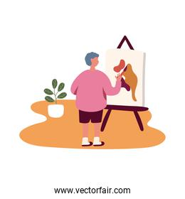 eldery man painting picture in home activity free form style