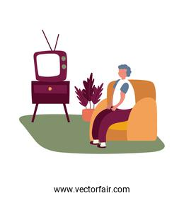 eldery man watching tv in home activity free form style