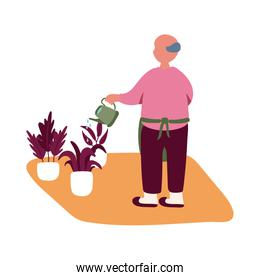 eldery man care plants in home activity free form style