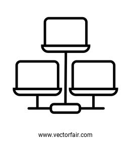 laptops computers line style icons