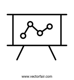 paper board with statistics line style icon