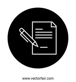 paper document with pen line style