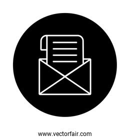envelope mail send block and line style icon