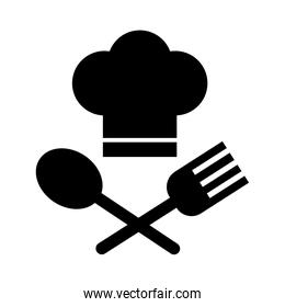 chef hat with fork and spoon line style
