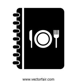 restaurant menu with cutlery and dish silhouette style