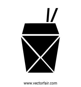 chinese food in box silhouette style icon