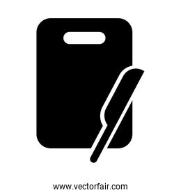 knife tool with board silhouette style icon
