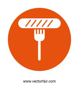 delicious sausage in fork block style icon
