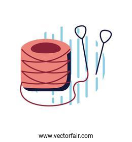 Thread with needles flat style icon vector design