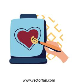 hand with brush painting heart on jar flat style icon vector design