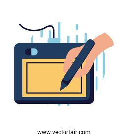 Tablet and hand holding digital pen flat style icon vector design