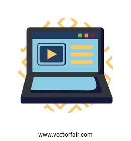 Play button inside laptop flat style icon vector design