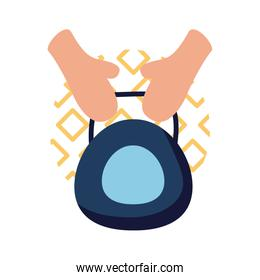 Hands with weight flat style icon vector design