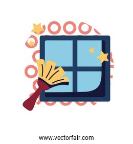 Brush cleaning window flat style icon vector design