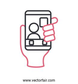 Hand holding smartphone with avatar line style icon vector design