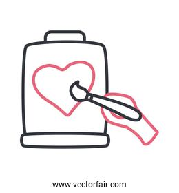 hand with brush painting heart on jar line style icon vector design
