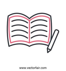 Open book with pencil line style icon vector design