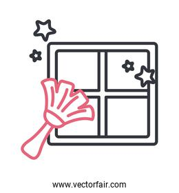 Brush cleaning window line style icon vector design