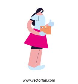 woman receiving package with safety precautions, face mask and gloves over white