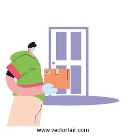 man with mask and gloves in package delivery