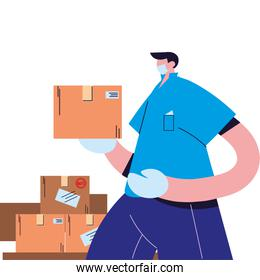 courier with mask, gloves, and shipping packages