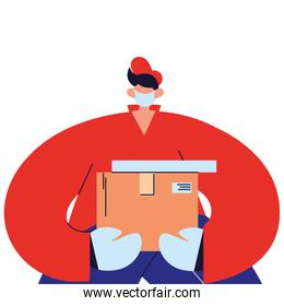 Courier with mask, gloves and packages to deliver