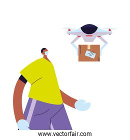 man receiving package with safety precautions, face mask and gloves