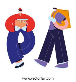 couriers with mask, gloves, and shipping packages
