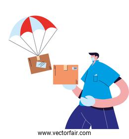 male courier sending international packages with face mask and gloves