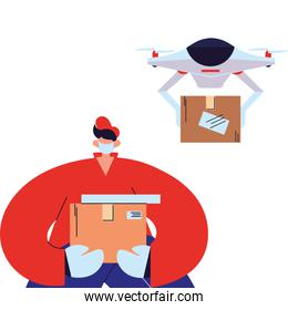 man delivery courier with mask, glove and drone