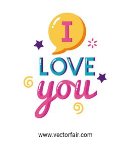 I love you text with bubble flat style icon vector design