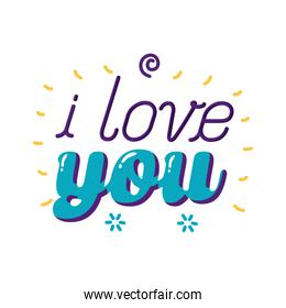I love you text flat style icon vector design