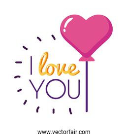 I love you text with heart balloon flat style icon vector design
