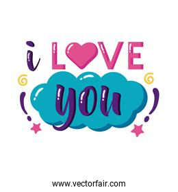 I love you text with cloud flat style  design