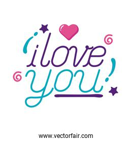 I love you text with heart flat style icon vector design