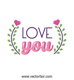 Love you text and leaves wreath flat style icon vector design