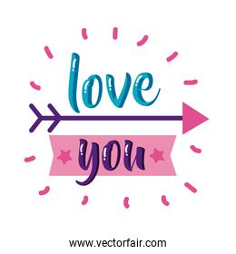 Love you text with arrow flat style icon vector design