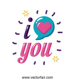 I love you text with heart bubble flat style icon vector illustration