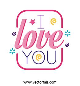I love you text inside frame flat style icon vector design