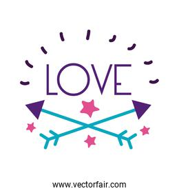 Arows and love word flat style icon vector design