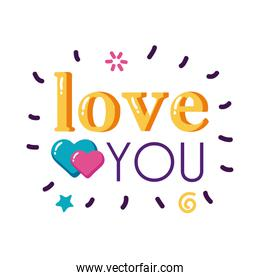 Love you text with hearts flat style icon vector design