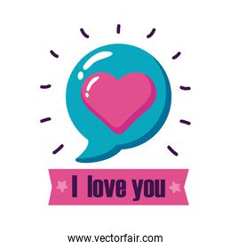 I love you text with heart bubble flat style icon vector design