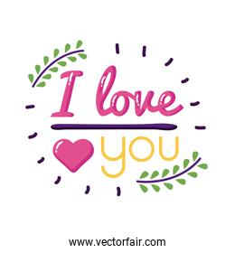I love you text with leaves wreath flat style icon vector design