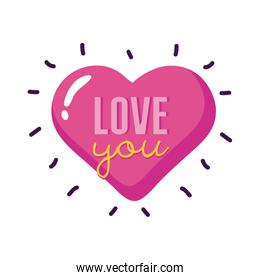 Love you text inside heart flat style icon vector design