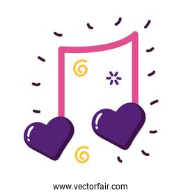 Hearts music note flat style icon vector design