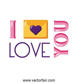 I love you text with heart on card flat style icon vector design