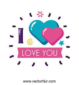 I love you text with hearts and ribbon flat style icon vector design