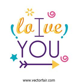 I love you text with arrow flat style icon vector design