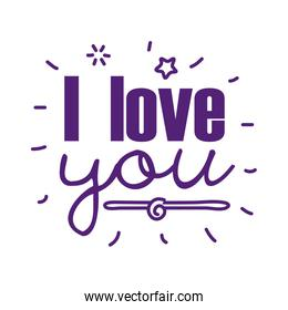 I love you text line style icon vector design